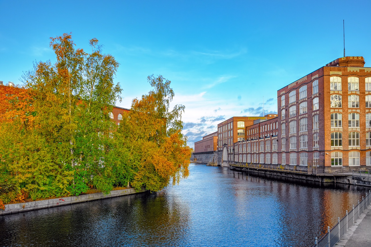 Old factory building of red brick in the autumn. Tampere, Finland